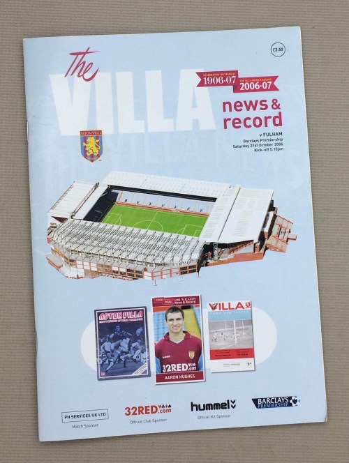 Aston Villa 2006 Program