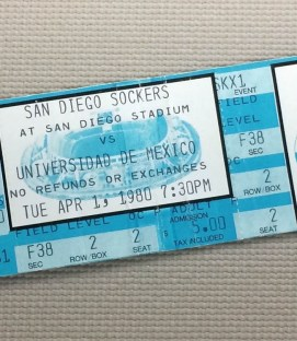San Diego Sockers vs Pumas 1980 Ticket