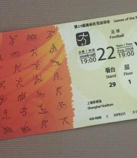 China Olympics 2008 Soccer Ticket
