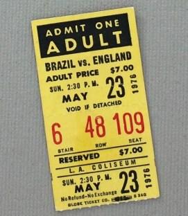 1976 Bicentennial Cup Brazil England ticket