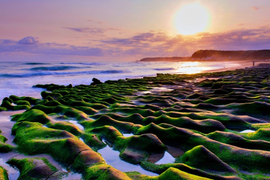 Stone trench of Laomei by sunrise