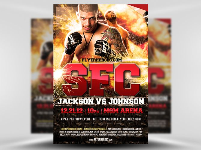 Free Mma Fight Night Flyer Template  Theflyermarket