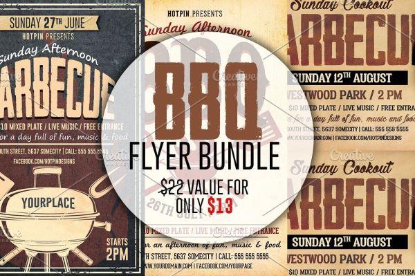 barbecue bbq flyer template bundle theflyermarket