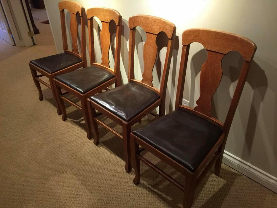 Four Quarter-sawn Oak Dining Chairs With Leather Seats