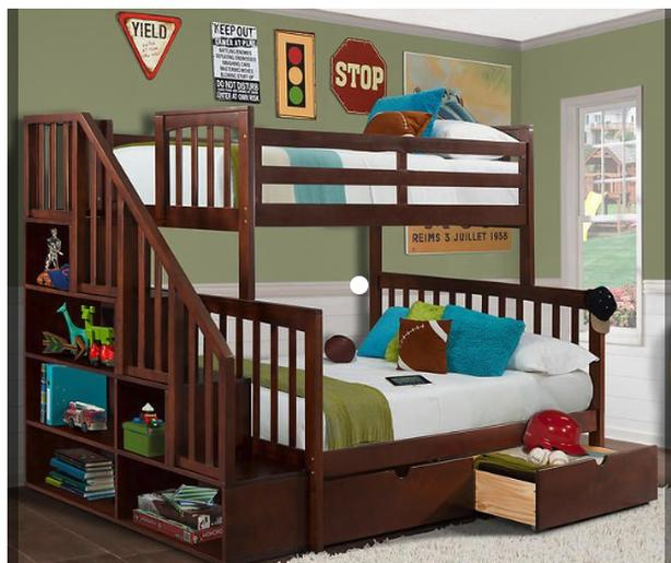 350 bunk bed twin over full staircase