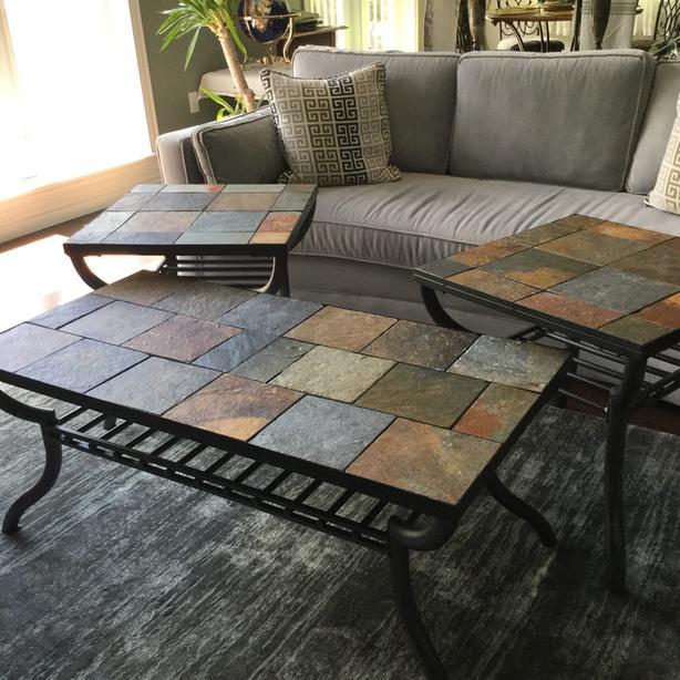 slate stone tile metal frame coffee