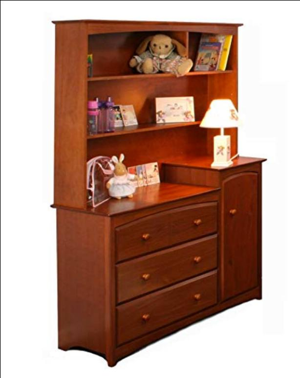 70 cherrywood all in one change table and dresser with hutch storkcraft