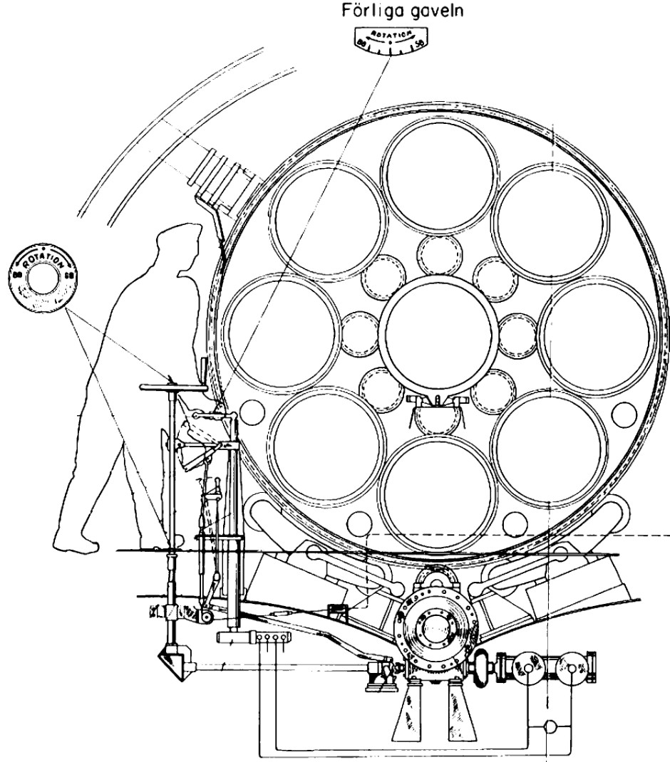 A concept sketch for a revolving 10 tube torpedo array used in the a 10 another swedish submarine design
