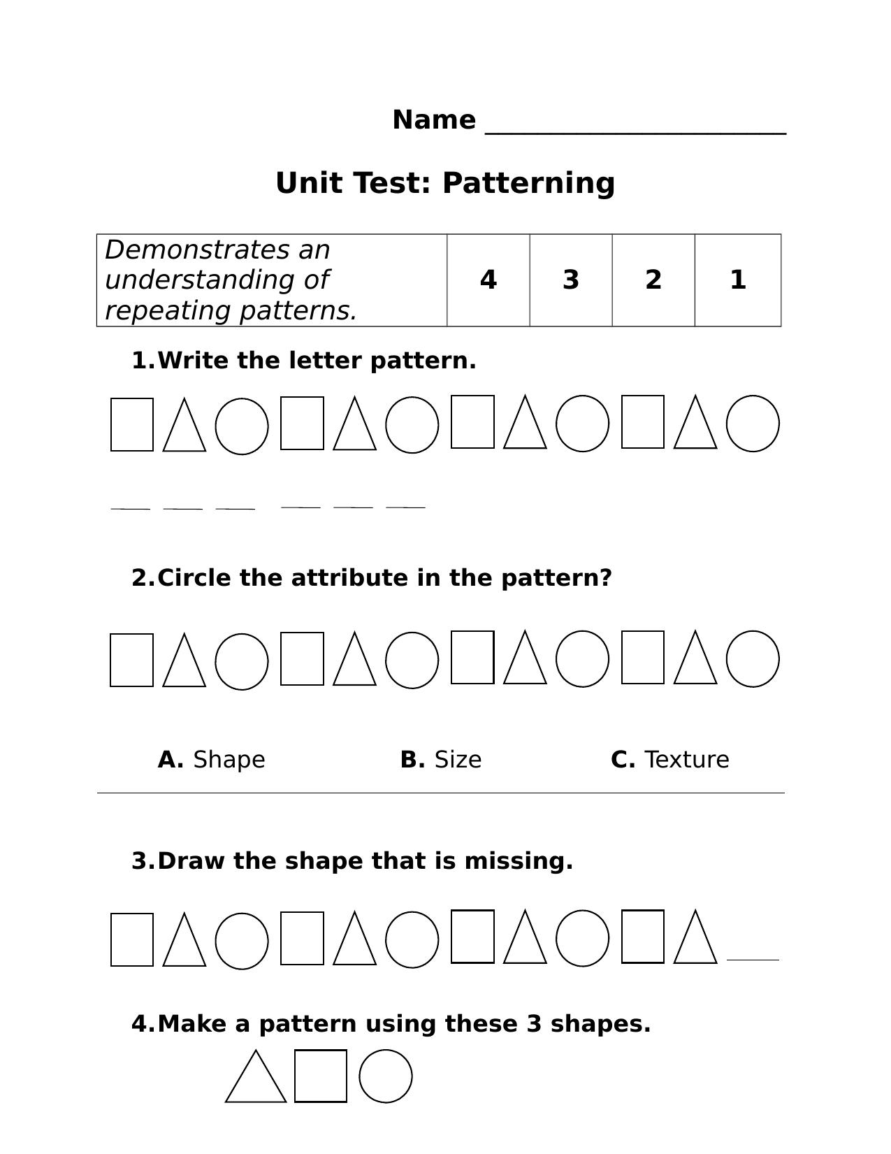Patterning Worksheet Kindergarten