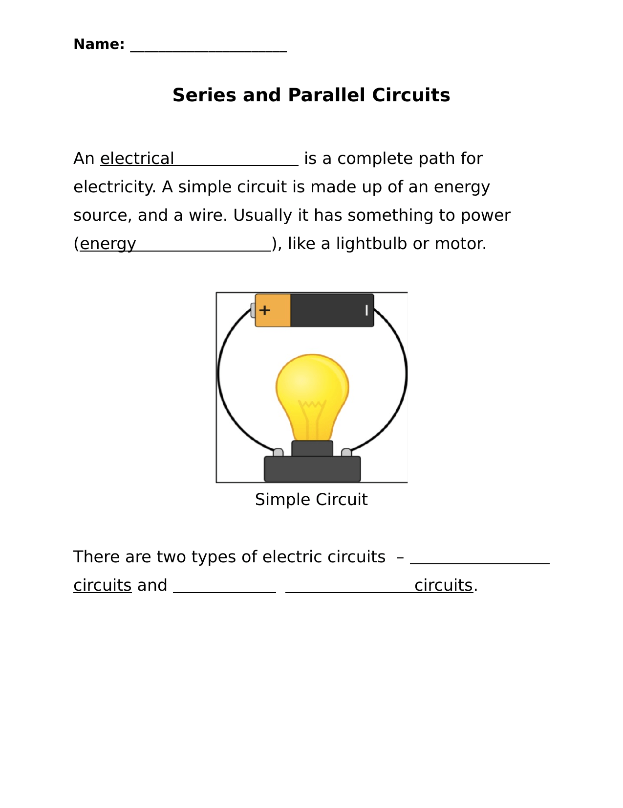 Series And Parallel Circuits Worksheet By Ktowns Ninja Plans