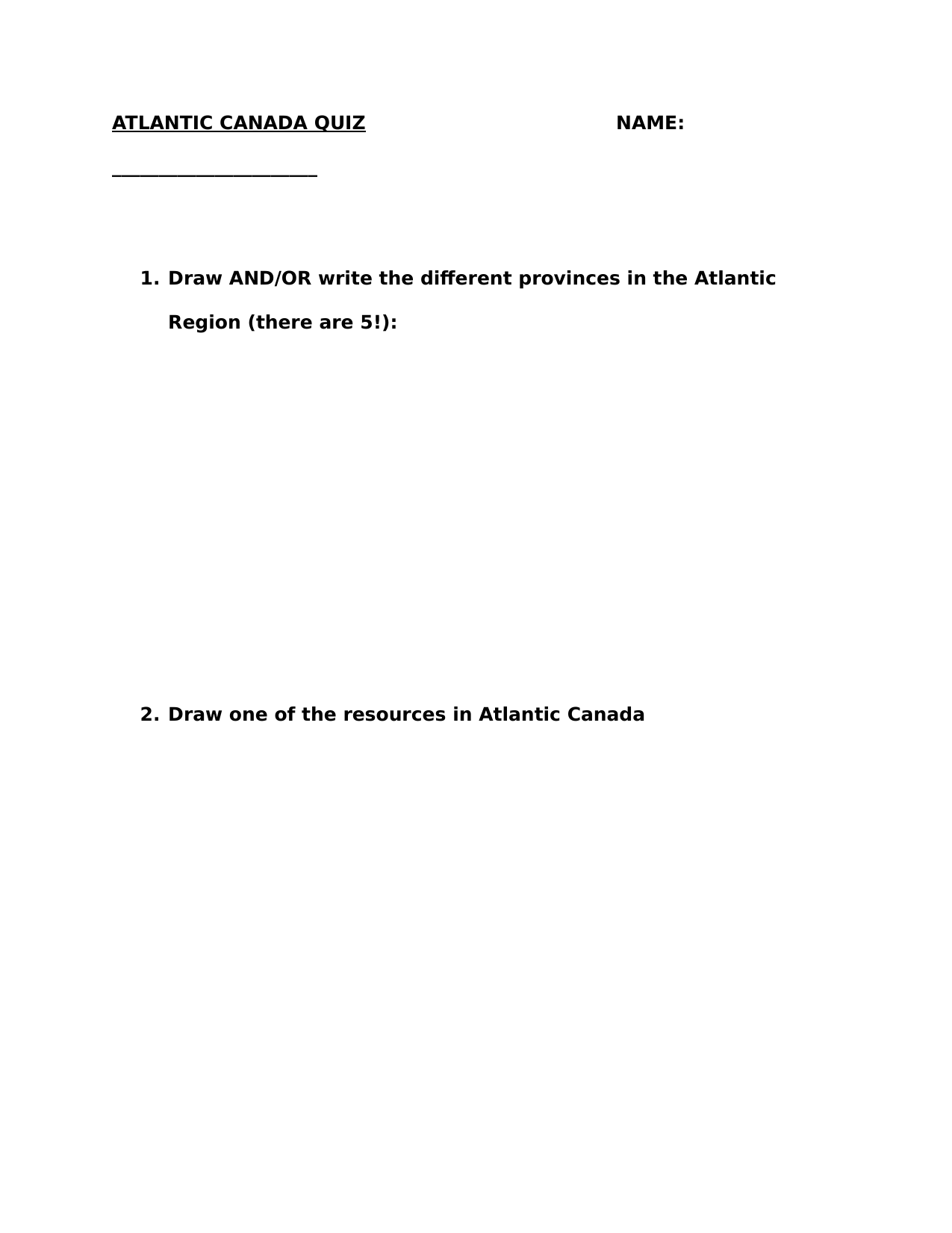 Regions Of Canada The Atlantic Worksheet Pt 2 By Bbauer