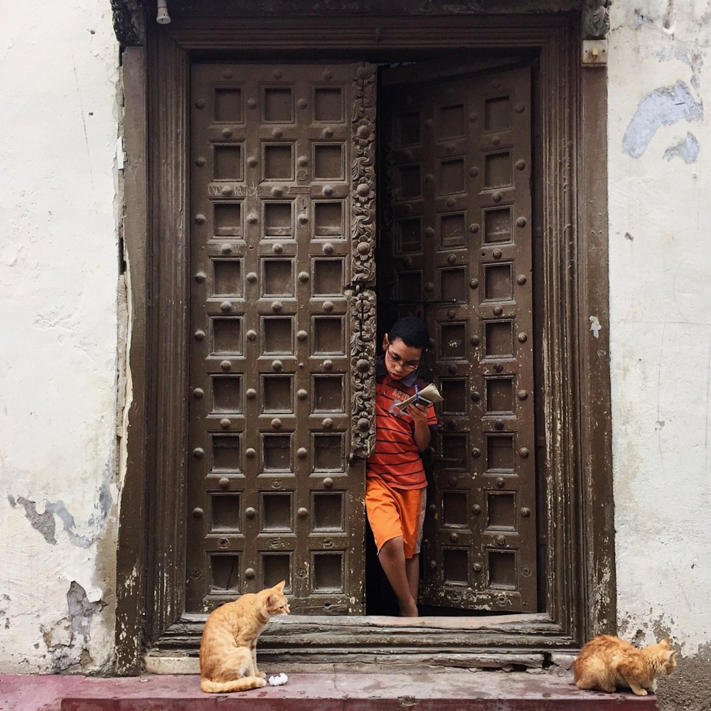 photo of a boy in a door way with two ginger cats in front of him
