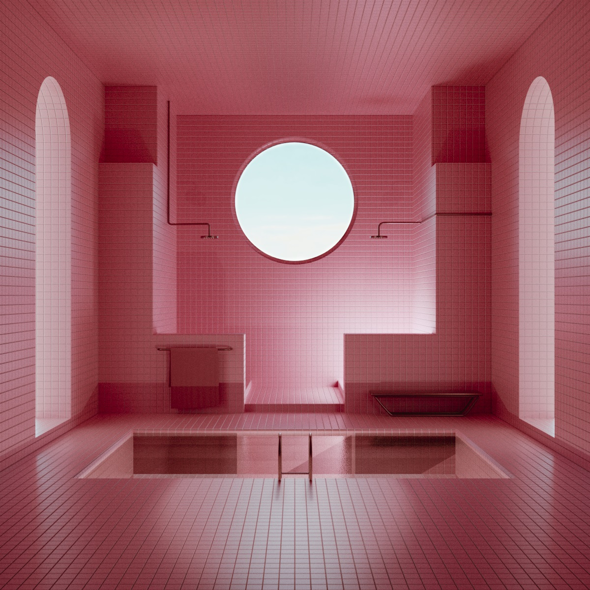 Rendered Pink Bathroom