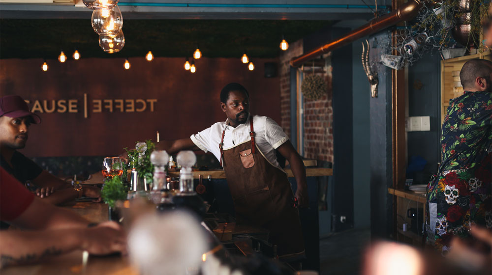 The bar at Cause Effect Bar