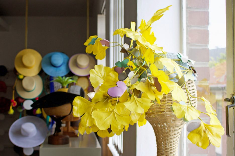 Yellow hat by Cape Town's maverick milliner The Real Crystal Birch. Image by Amber Rose Cowie.