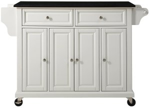 Details About Crosley Furniture Rolling Kitchen Island With Solid Black Granite Top In White