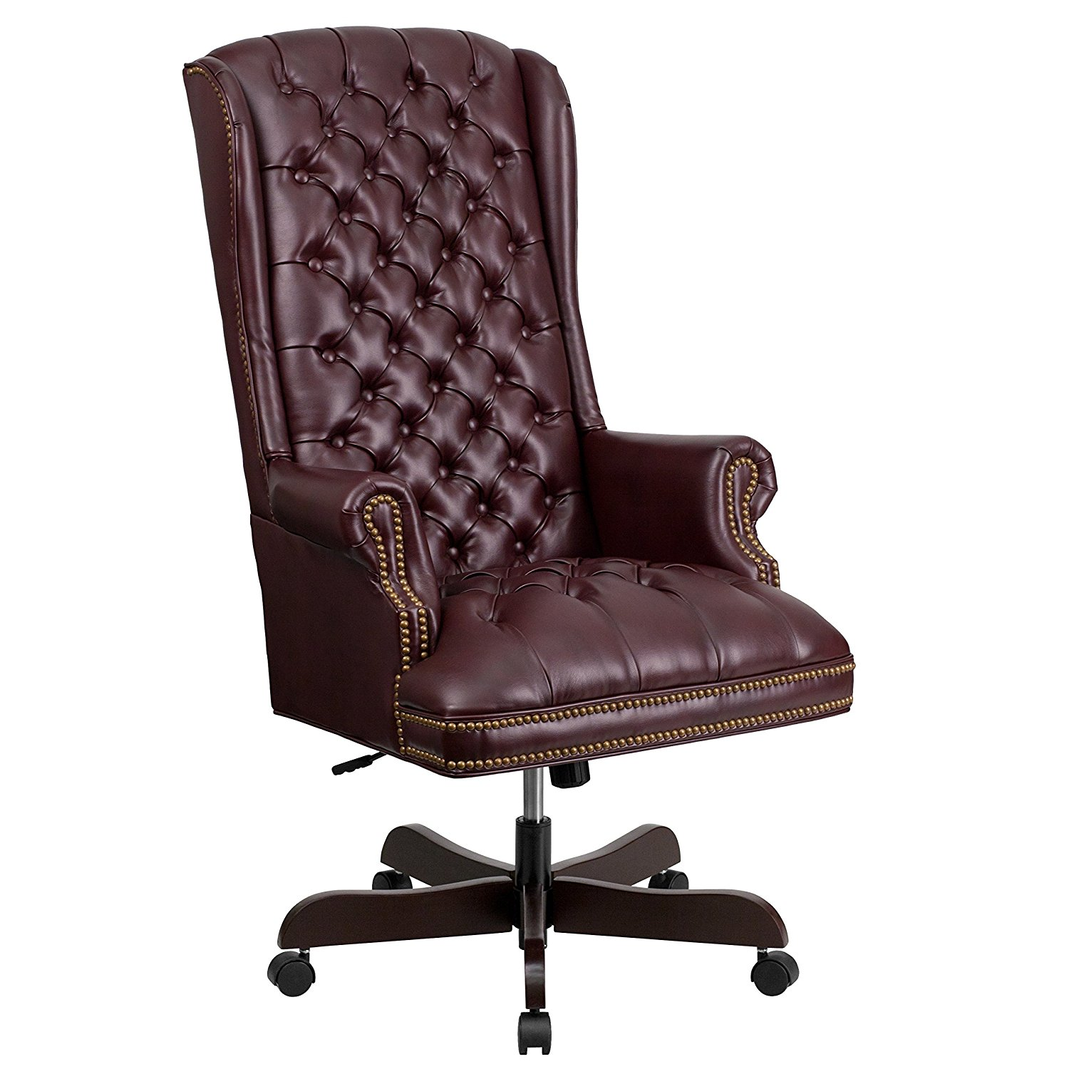 Details About Flash Furniture High Back Tufted Leather Executive Chair In Burgundy Finish New