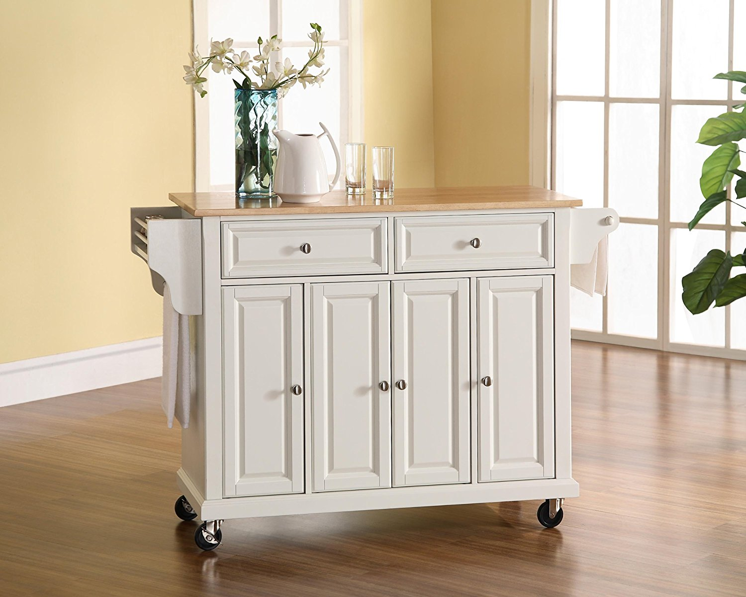 Details About Crosley Furniture Rolling Kitchen Island With Natural Wood Top In White New