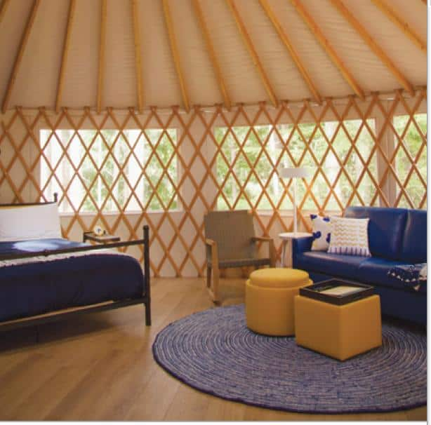 Camp in one of the new yurts.