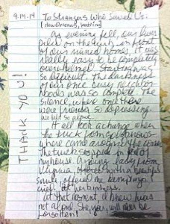Katrina - To Strangers Who Saved Us - handwritten original