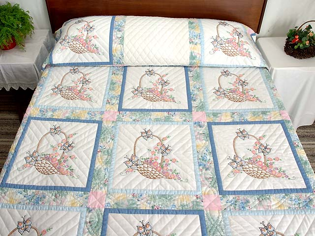 Pastel Blue And Multi Embroidered Baskets Quilt