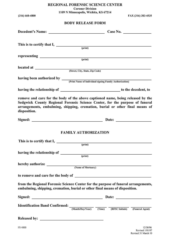 Coroner Release Form