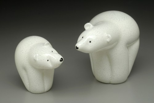 Sherwin Art Glass Polar Bears