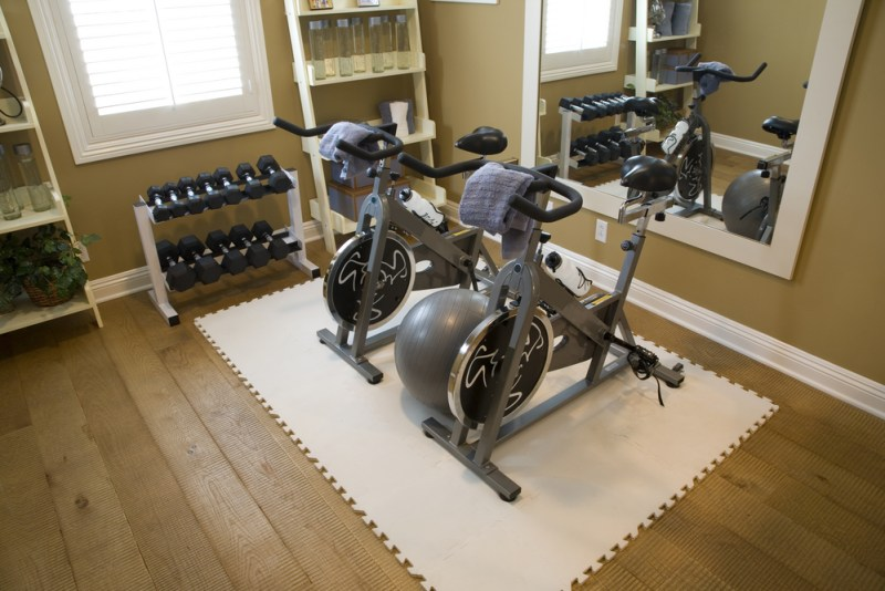 Custom designed home gym room with 2 exercise bikes, wall mirrors and a rack of dumbbells