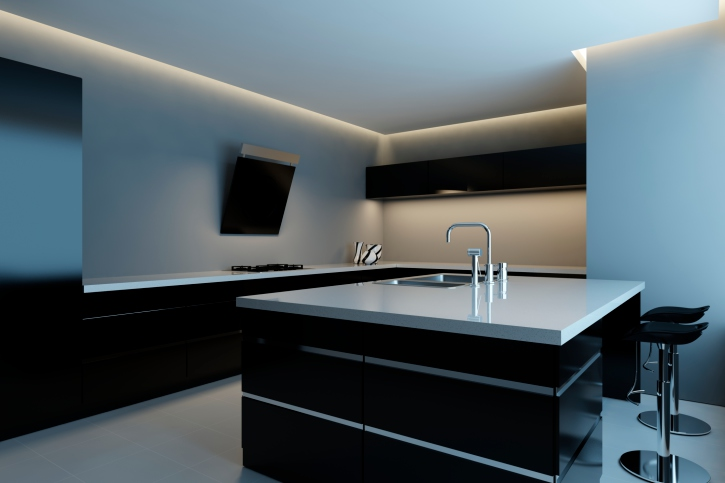 Minimalist black and white kitchen