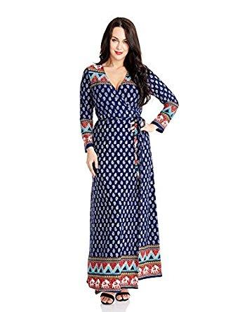 Luvamia Womens Plus Size Ethnic Print Long Sleeves Bohemian True Wrap Maxi Dress