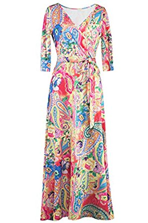 MIHOLL Women's Paris Bohemian 3/4 Sleeve Faux Wrap Maxi Dress Long