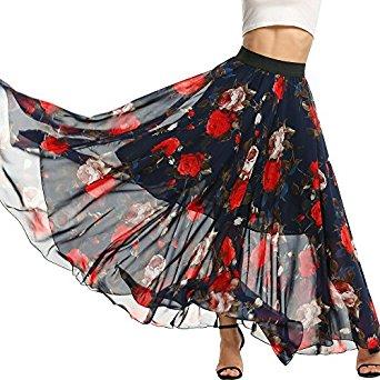 Elesol Womens Casual Floral Chiffon Maxi Skirt Cute Polka Dot Flowy Long Beach Dress