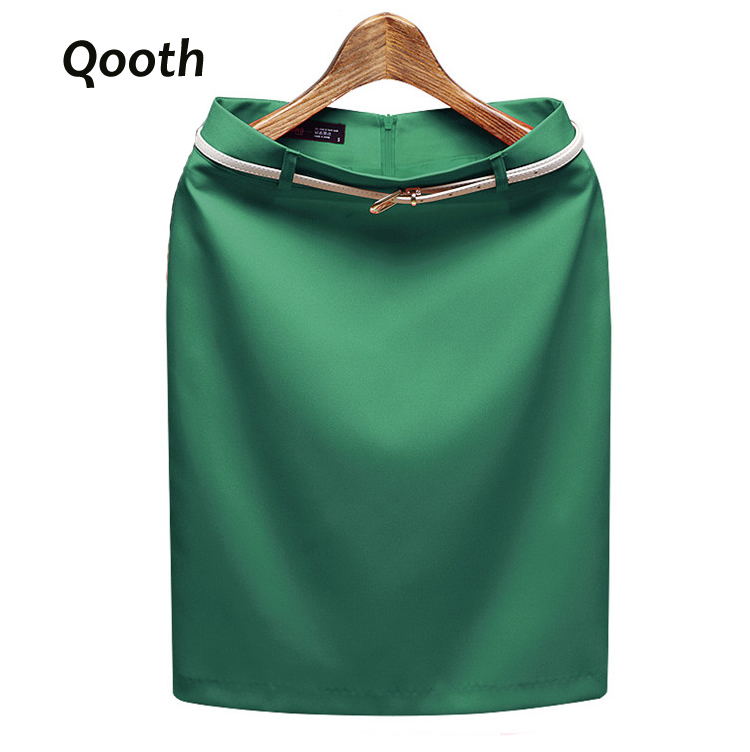 New Summer Autumn Fashion Office Solid Color Women's A line Knee Length Plus Size 3XL Skirt Belt Color Send Randomly DF245
