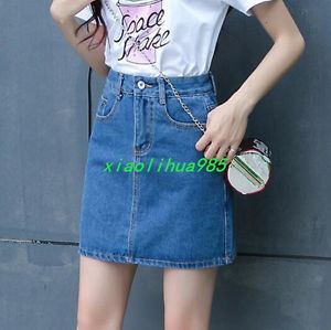 Women New Short A Line Zip Skinny Jeans Dress Collegiate Plus Size Denium Skirts