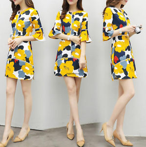 Fashion OL Womens Flared Sleeve A Line Floral Slim Casual Summer Dress Plus S