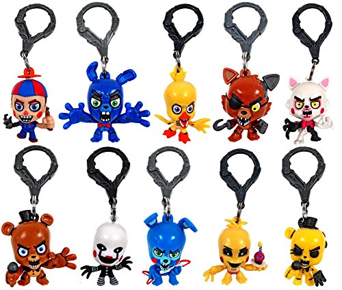 """FNAF Officially Licensed Five Nights At Freddy's 3″ Figure Hangers SET of 10 Toys Includes: Chase Piece """"Golden Freddy"""""""