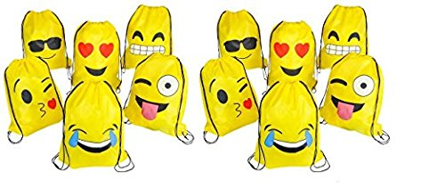 RIN EMOJI Assorted Emoticon Party Favors Drawstring Backpacks, 24-Pack, 16×13-Inch