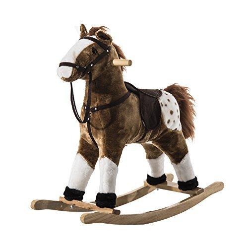 Qaba Kids Plush Rocking Horse Pony w/ Realistic Sounds – Brown