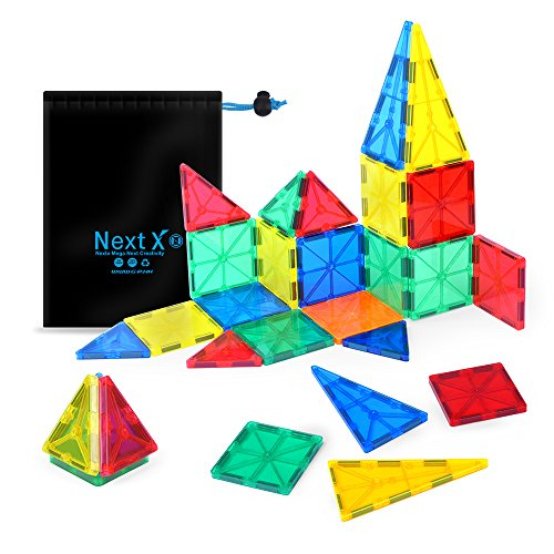 NextX Building blocks Toys 32 Pieces Clear 3D Magnetic Tile Set ,Early educational STEM Toys for boys and girls – Kid's Birthday Gift Idea