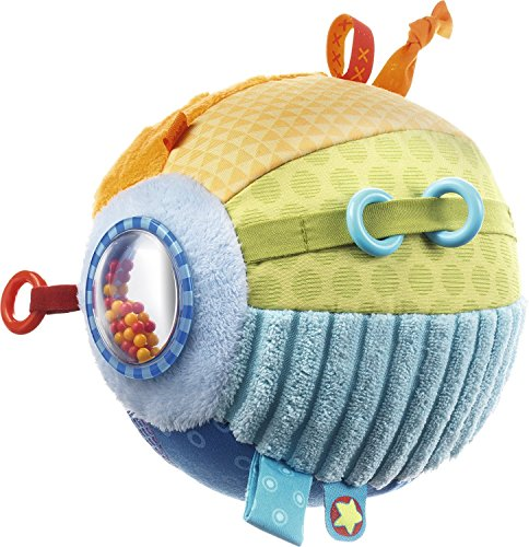 HABA Discovery Ball All Colors – Soft Colorful Tactile Patterns with Rings, Tags, Rattle & Mirror