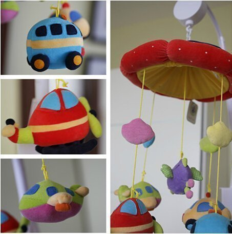 Zuwit Plane and Car Baby Bed Crib Musical Mobile Rotating Nursery Bell Electric Music Box 12 Melodies