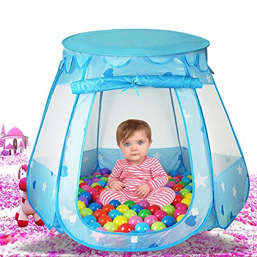 Kids Indoor Outdoor Prince Play Tent Castle with 100 PCS Balls, Casa Mall Baby Pop Up Balls Pool Playhouse Ball Tent Toddler Toys (47 * 47 *34 Inch) (Blue)