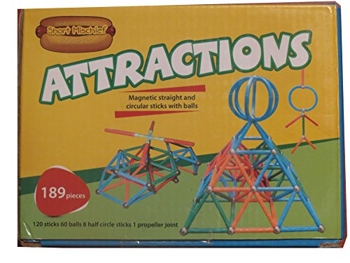 189 pcs Attractions magnetic sticks and balls building blocks toy in 3 shapes