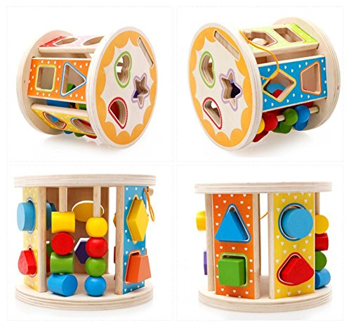 Joyeee Wooden Baby Shape Color Recognition Intelligence Sorter – Cylinder Shaped Early Education Shape Colour & Number Sorting and Stacking Blocks Toy – Perfect Christmas Gift Idea