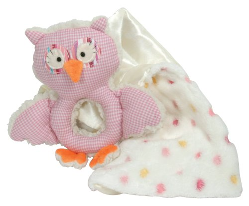 Stephan Baby Shabby Owl Shaggy Sherpa Rattle and Multi-Dot Fleece Blankie Gift Set, Pink/White