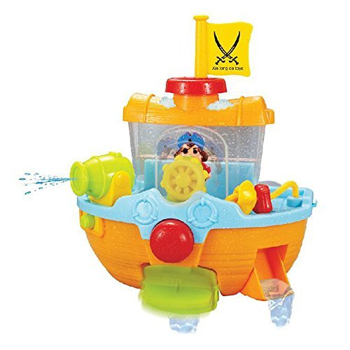 Pirate Ship Bathtub Bath Toy – ZM15021 Bathtime Play Set for kids with Water Cannon and Boat Scoop by Hanmun