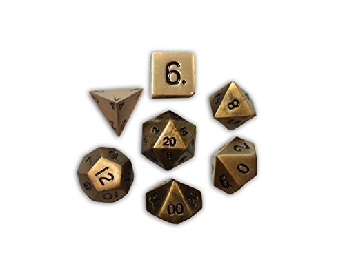 Set of 7 Dragons Gold Full Metal Polyhedral Dice by Norse Foundry | RPG Math Games DnD Pathfinder