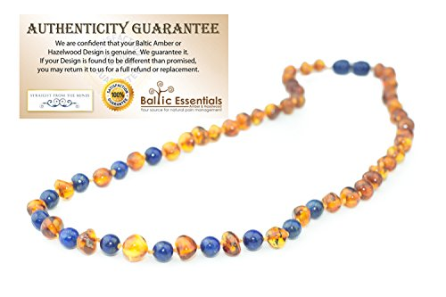 ADHD Baltic Amber Teething Necklace for Babies Cognac Lapis Lazuli Baby, Infant, Toddlers Polished Drooling & Teething Pain Reduce Properties Baltic Jewelry Twist-in Screw Clasp (Cognac Lapis Lazuli)