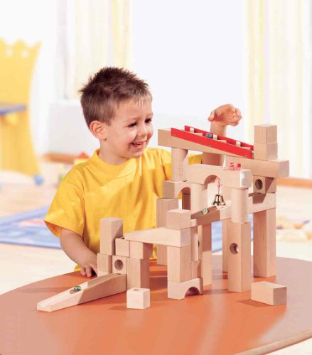HABA Ball Track Large Basic Set – 42 Piece Wooden Marble Run for Beginner to Expert Architects Ages 3 to 10 (Made in Germany)