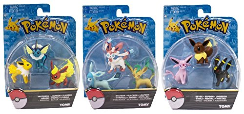Official Packaged Pokemon Eevee Eeveelutions 9 Pcs. Exclusive Figure Set Includes: Vaporeon , Jolteon ,Flareon , Sylveon , Glaceon , Leafeon , Eevee , Espeon & Umbreon
